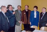 Diskussionsteilnehmer und Organisatoren der Herbstgespräche; Dr. Kartal, W. Stegemann, Gerd Ruge, Prof. Dr. Springer, Liselotte Funke, Ignatz Bubis (v. l.)