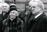 Bergarbeiter-Demonstration mit NRW-Ministerpräsident Rau und Stadtdirektor Dr. Zahn, 90-er Jahre